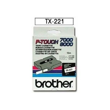 Ribbon BROTHER TX221 9mm crna na bijeloj laminirana