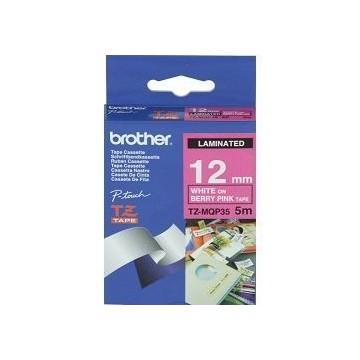 Ribbon BROTHER 12mm bijela na rozoj - TZEMQP35